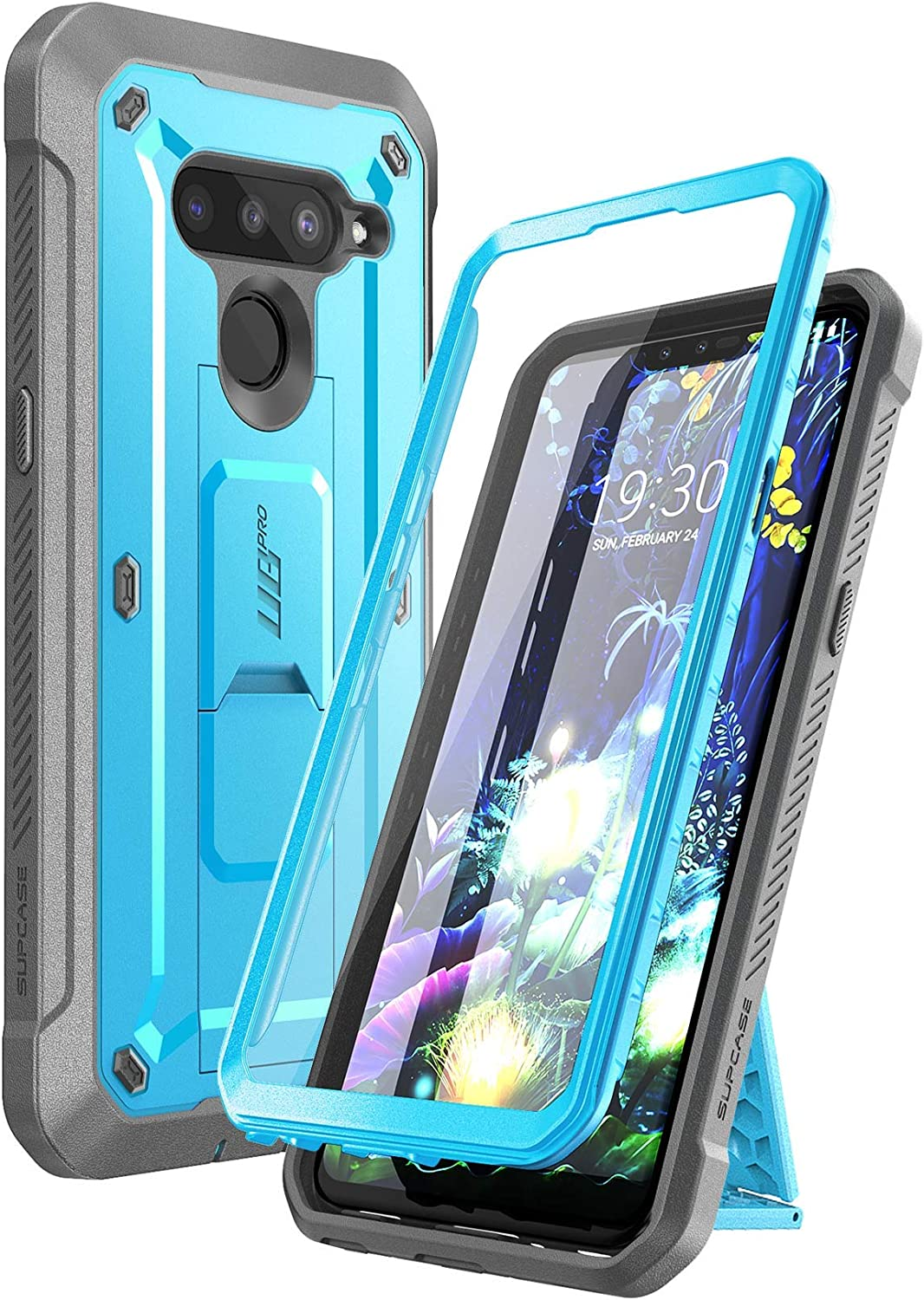 SupCase Unicorn Beetle PRO Series Case for LG V50 / LG V50 ThinQ 5G Case 2019, Full-Body Protective Case with Built-in Screen Protector Kickstand & Holster Clip (Blue)