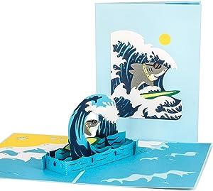 Ribbli Surfing Shark Handmade 3D Pop Up Card,Greeting Card,Thank You Card,Sport Card,Surf Card,Fish Card,Animal Card,Summer Card,For Birthday Card,Father Card,Mother Card,Anniversary Card