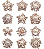 L'vow Mixed Designs Crystal Floriated Brooches Scarves Collar Pin Corsage Bouquet Kit Pack of 12