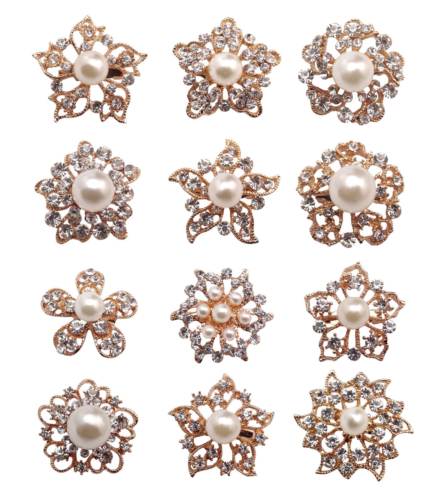 12px Pearl Brooches Mixed Designs Silver or Gold Colors Brooch Pins Wedding Corsage Bride Bouquet Kit (Gold)