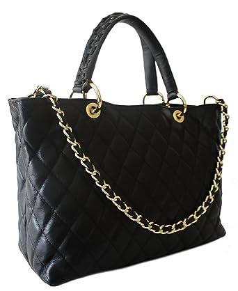 e2cbaf028d479 Sa-Lucca echt Leder Handtasche Damentasche Shopper Tasche Ledertasche  schwarz gesteppt Ketten MADE IN ITALY