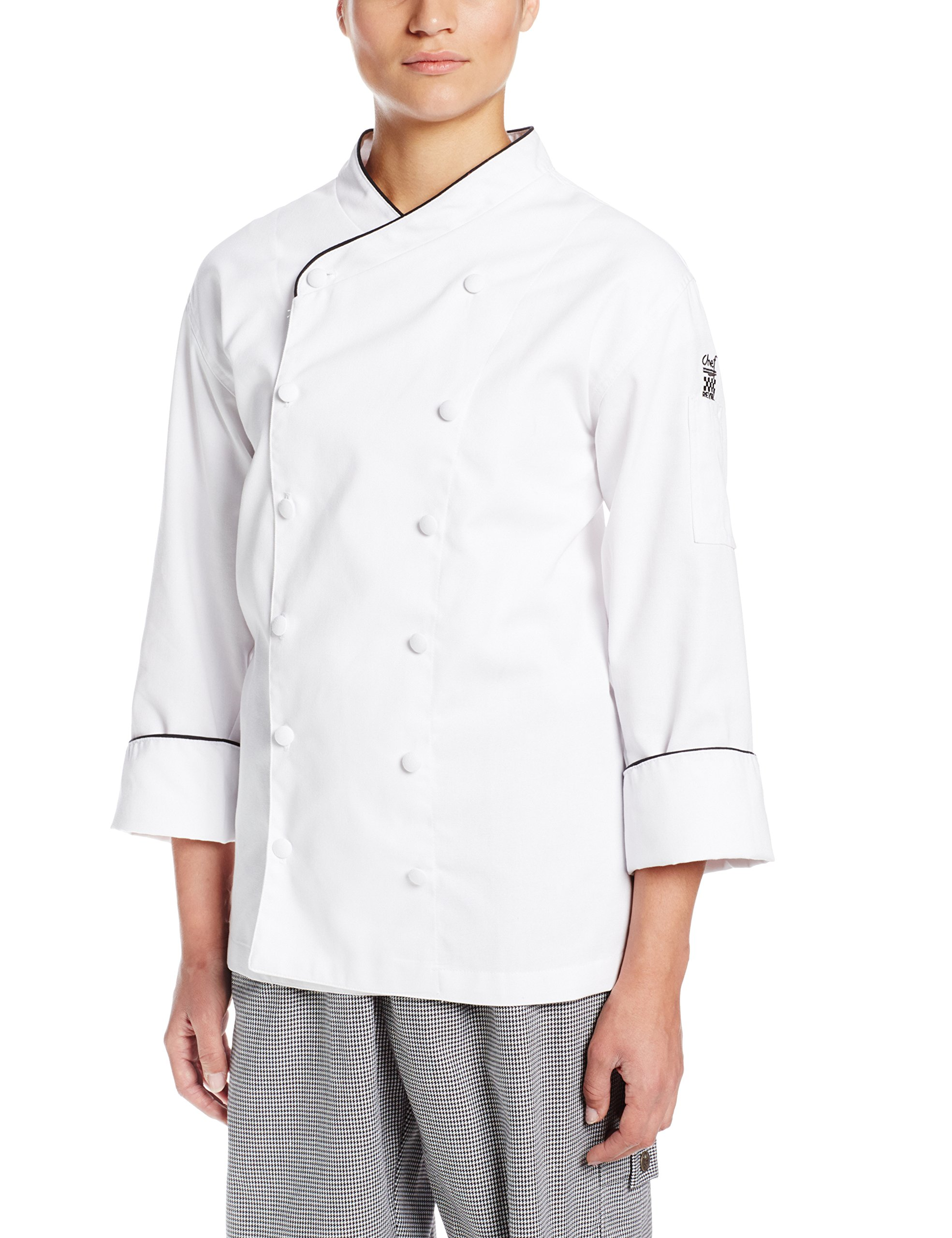 Chef Revival LJ008 Chef-tex Poly Cotton Ladies Corporate Jacket with Black Piping and Cloth Covered Button, Medium, White