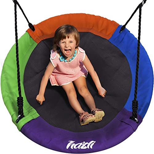 Outdoor Round Tree Swing for Kids – 40 Round Saucer Swing – Large Tree Swings for Children with Hanging Kit – Heavy Duty 400 lbs Disk Swing
