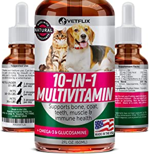 VETFLIX Pet Vitamins 10 in 1 - Made in USA - Glucosamine For Dogs & Cats - Dog Supplement for Pet Joint Health - Natural Cat & Dog Multivitamin - All Ages & Breeds - Folic Acid For Cats & Dogs Immune