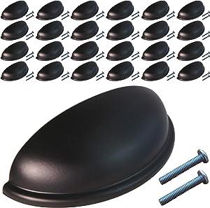 (25 Pack, CC: 3 Inch) Swiss Kelly Hardware Matte Black Kitchen Cabinet Handles Drawer Pulls