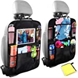 Car Backseat Organizers For Kids, Car Boot Organiser Kick Mat with 10inch Tablet Holder, Car Seat Back Protectors,Multiple St