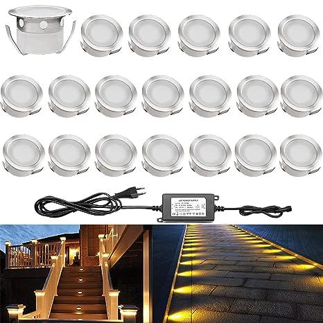 Lot De 20 Qaca Encastrables Eclairage Pour Terrasse Escalier Pour Eclairage Exterieur L Escalier Patio Piscine Paysage Dc 12v Etanche Lampe Ip67