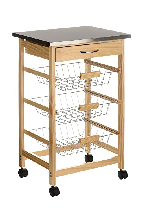 Premier Housewares - Carrito de cocina (madera de pino, parte superior de acero inoxidable