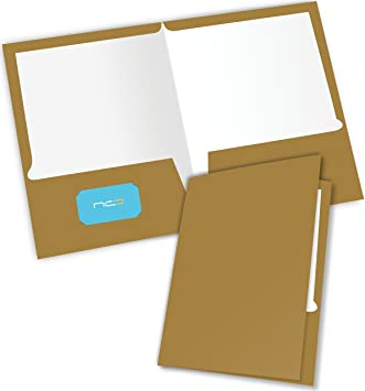 2 Pocket Folders Durable Heavy Duty HIGH Gloss Presentation Portfolios,Hold Letter Size Sheets with a die-Cut Business Card Holder New Generation Gold 6 Pack Laminated Presentation FOLDERS