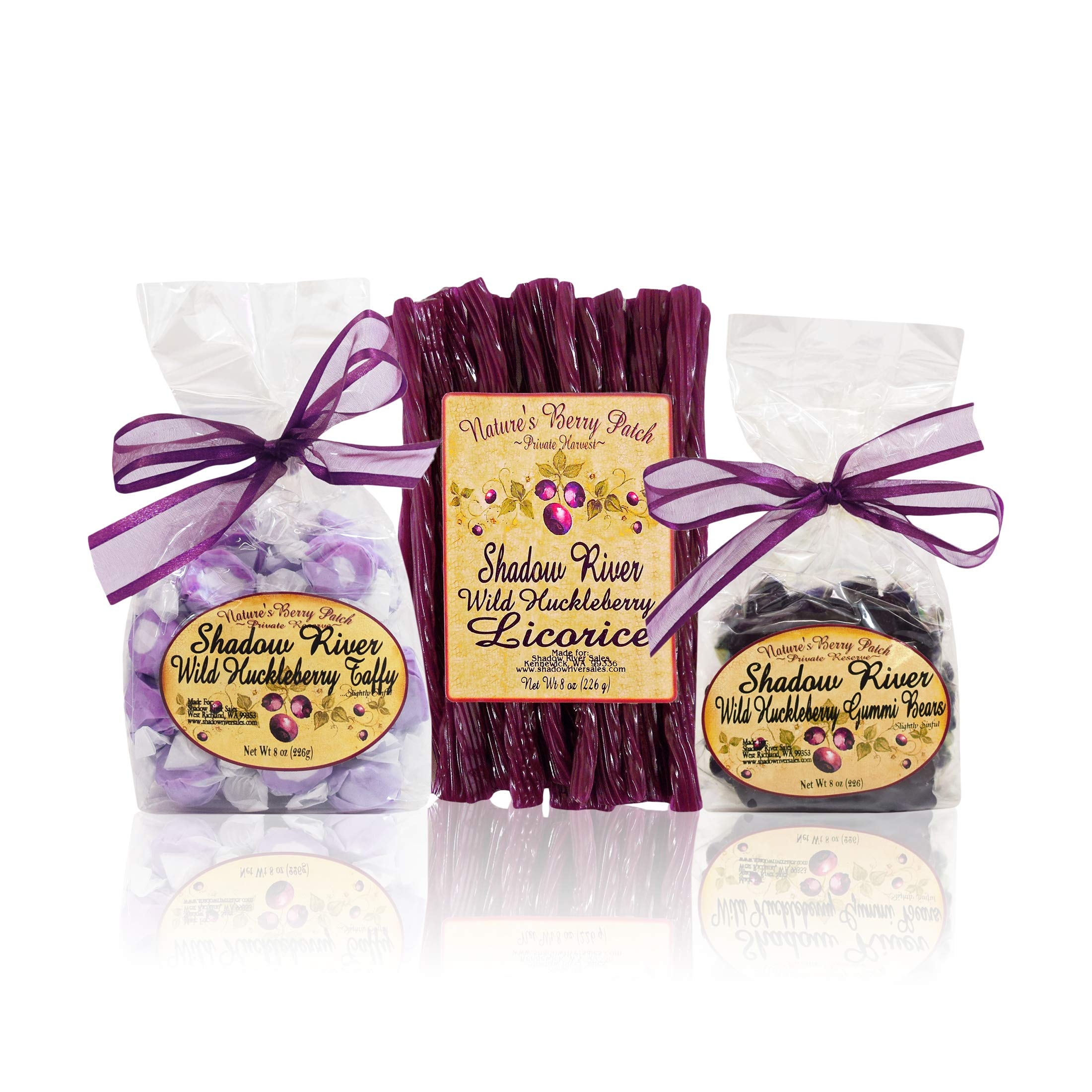 Shadow River Wild Huckleberry Candy Sampler (Licorice, Taffy, Gummi Bears) by Shadow River