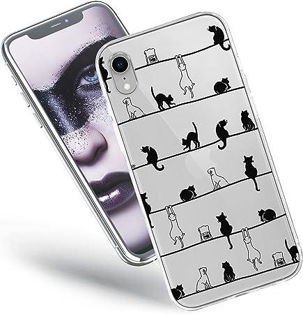 QULT Custodia Compatibile con Cover iPhone XR Silicone Gatto Trasparente Morbida Chiaro Cristallo Anti-Scratch Bumper Case per iPhone XR con Disegni ...