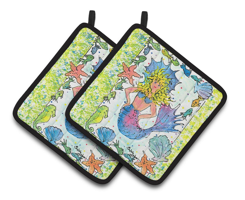 Multicolor 7.5HX7.5W Carolines Treasures Mermaid Pair of Pot Holders 8082PTHD