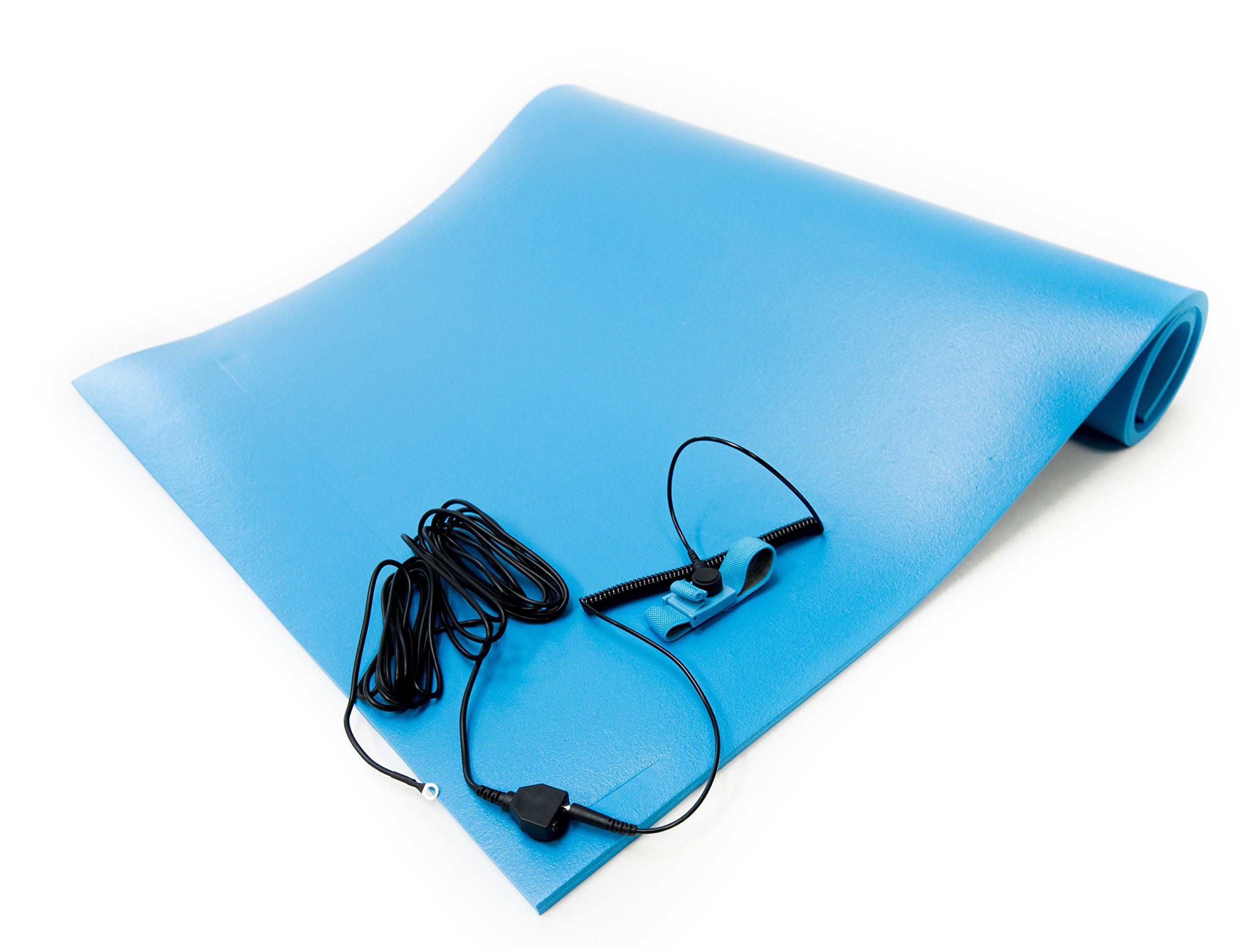 Bertech ESD Foam Mat Kit with a Wrist Strap and Grounding Cord, 3' Wide x 6' Long x 0.375'' Thick, Blue, Made in USA