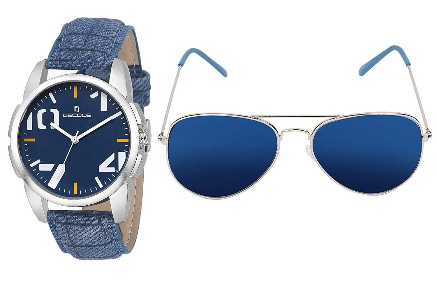 Decode Combo Of Analogue Blue Dial Watch & Aviator Men's Sunglasses-(WS  574Blue-003SLV Blue)
