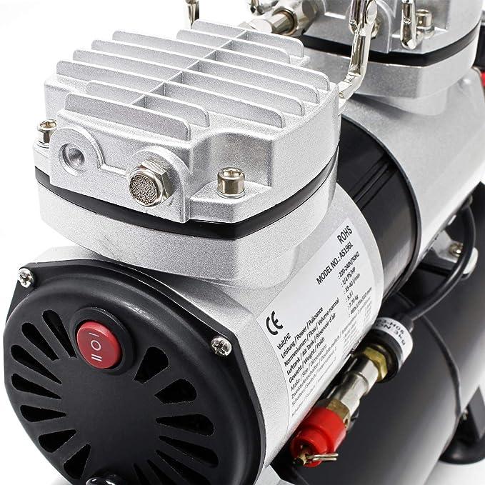 Compresor aerografía HS-196L Tanque aire Regulador presión OnOff automáticos Aerógrafo Modelismo: Amazon.es: Bricolaje y herramientas