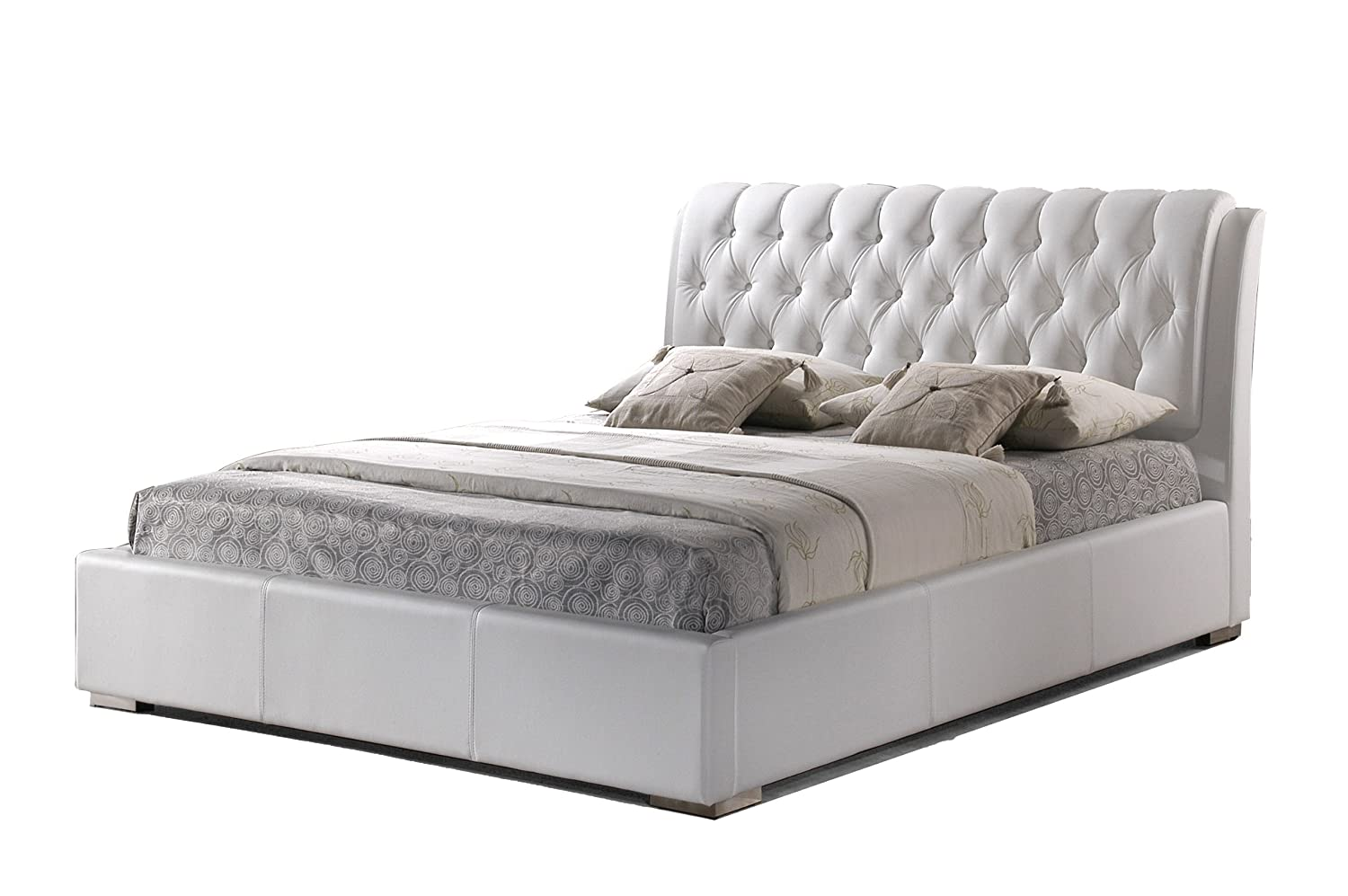 amazoncom baxton studio bianca white modern bed with tufted headboard queen kitchen dining - Modern Queen Bed Frame