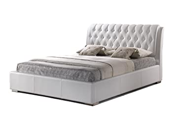 baxton studio bianca white modern bed with tufted headboard king - Tufted Bed Frame King