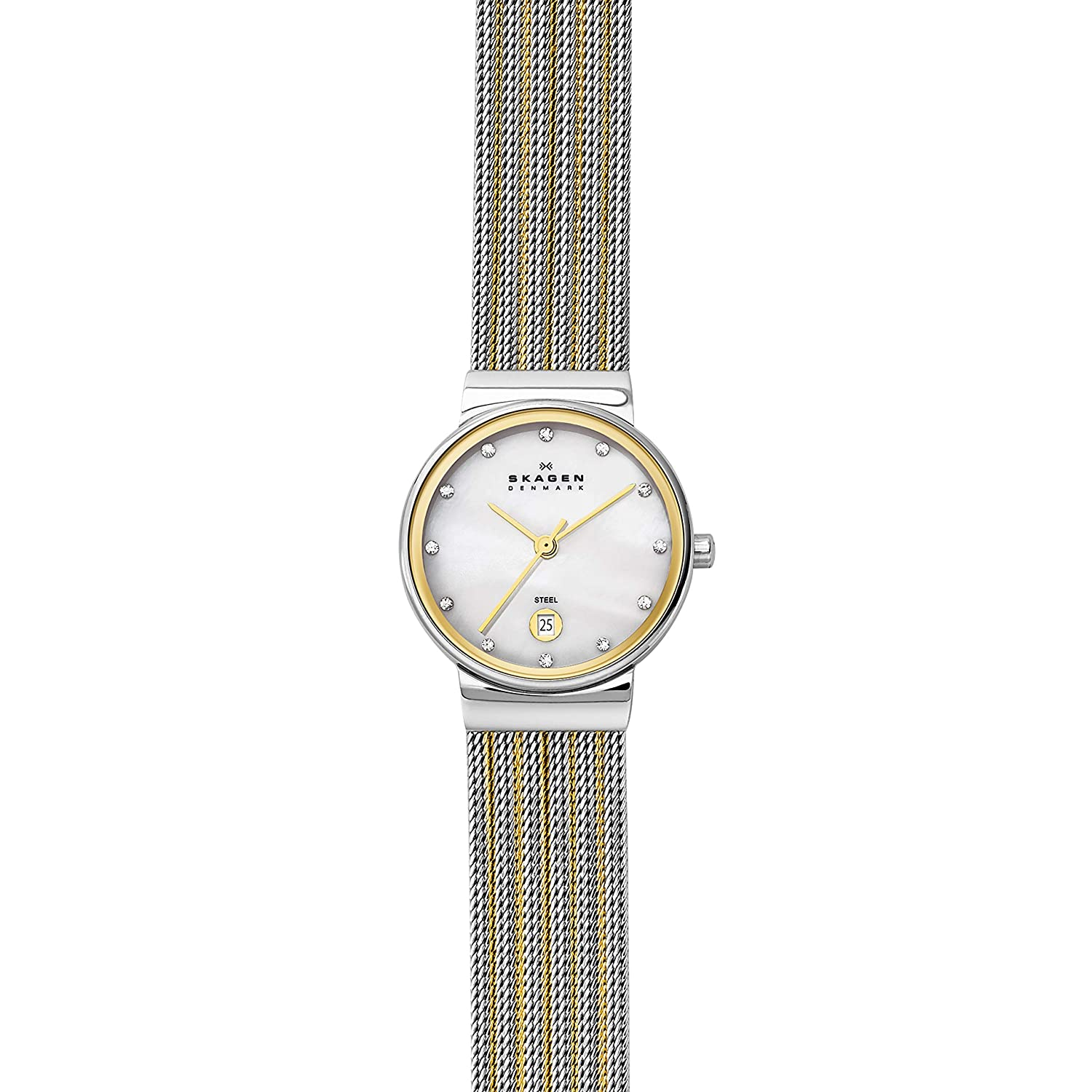 98ca6a5d1ae Amazon.com: Skagen Women's Ancher Quartz Two-Tone Stainless Steel Mesh  Dress Watch, Color: Silver and Gold-Tone (Model: 355SSGS): Skagen: Watches