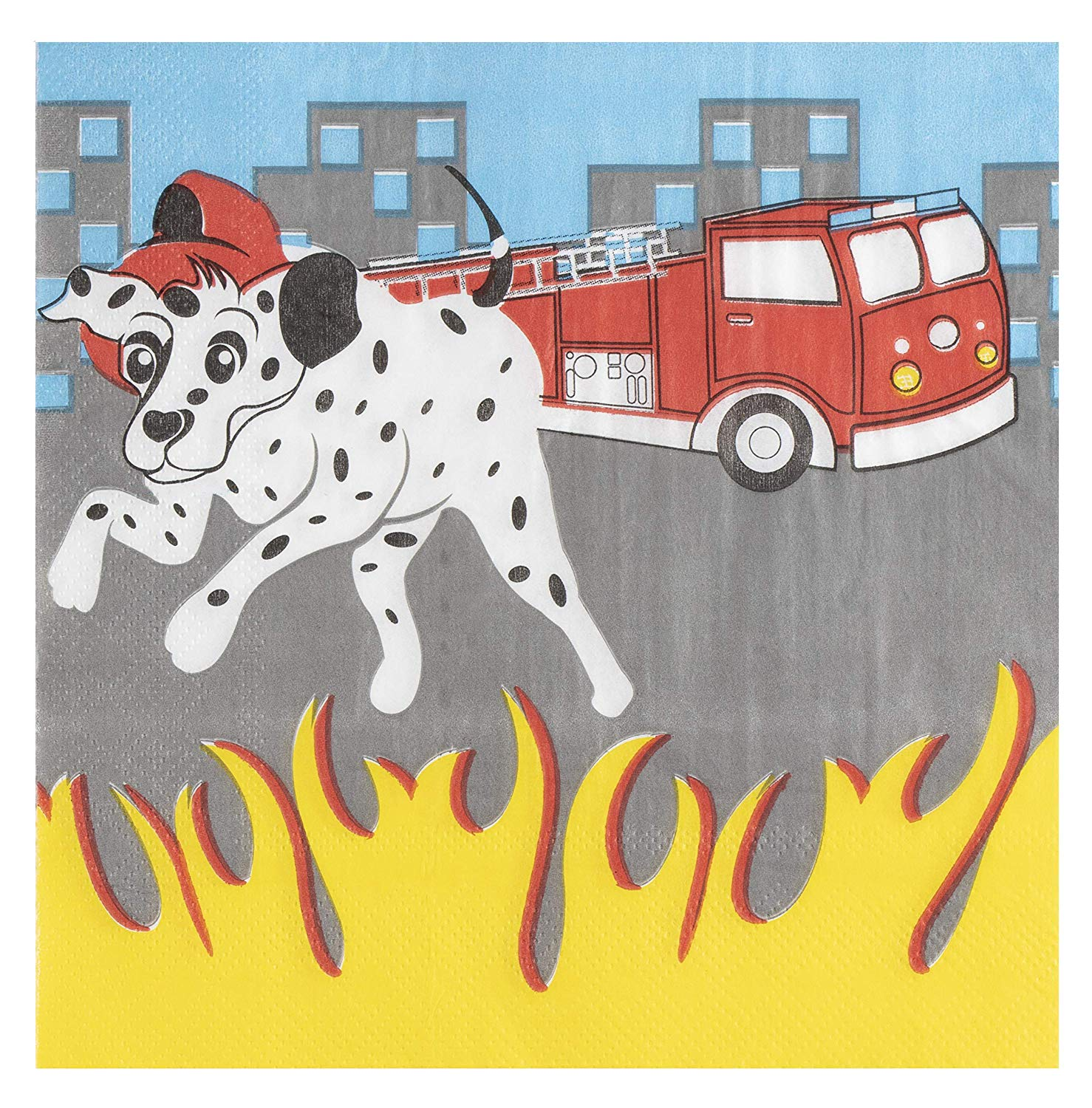 Folded 6.5 x 6.5 Inches 2-Ply Blue Panda Cocktail Napkins Disposable Paper Napkins Firetruck Party Supplies Kids Birthdays 150-Pack Luncheon Napkins Unfolded 13 x 13 Inches