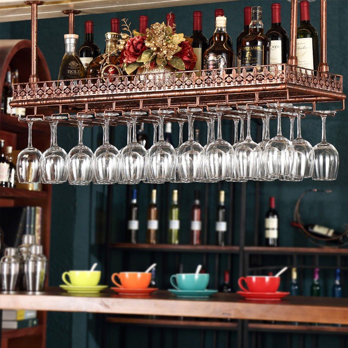 Warm Van Industrial Vintage Metal Bar Wine Glass Hanging Rack,Retro Upside Down Stemware Goblet Wine Glass Holder,Tableware Bottle Floating Shelf for Home Kitchen (Bronze, 47.2''L)