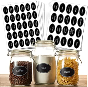 """Hayley Cherie - 350 Printed Pantry Label Set - Chalkboard Oval Stickers in Large 3"""" Size and Medium 2.5"""" Size - Includes Extra Write-on Labels - Waterproof Vinyl and Tear Resistant"""