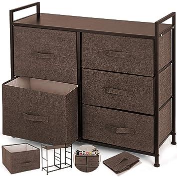 Happybuy Dresser Storage Tower with 5 Fabric Drawer Steel Frame Storage Cabinet Bin Storage Organizer Unit Fabric Cube Dresser Chest Cabinet Coffee ...
