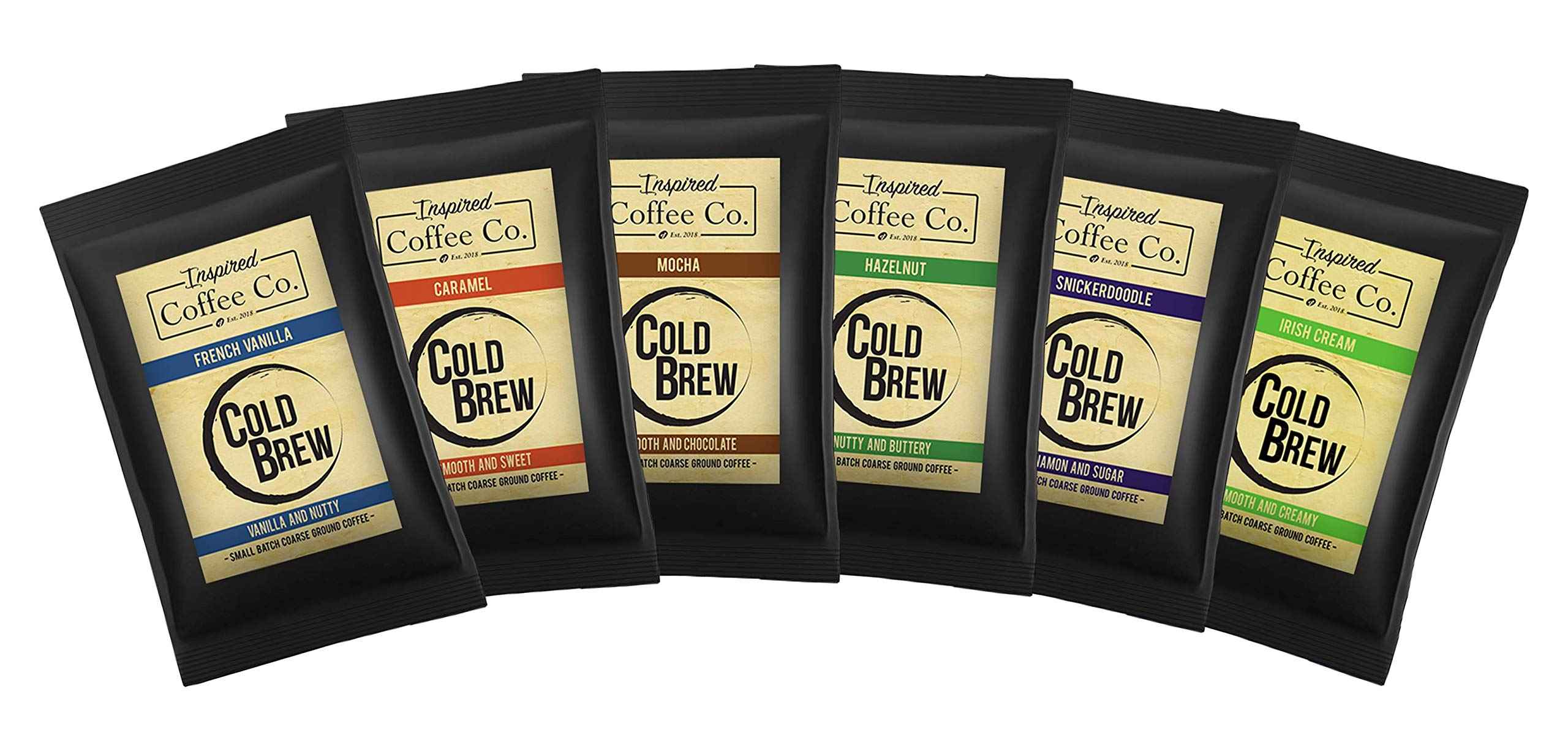 Classic Sampler Pack - Flavored Cold Brew Coffee - Inspired Coffee Co. - Coarse Ground Coffee - Six large 4 oz. Sample Bags by inspire coffee company