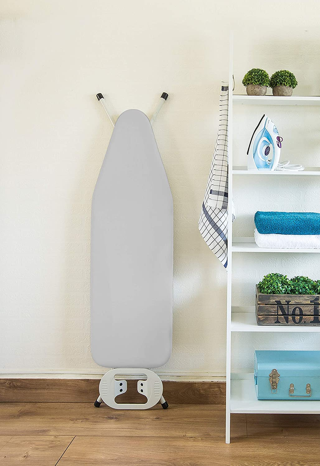 Heat Reflective 3 Velcro Fasteners Encasa Homes Metallised Ironing Board Cover Silver Super Luxury with Foam Bungee Elasticated Scorch Resistant Fits Standard Large Boards 15x54 Felt PAD