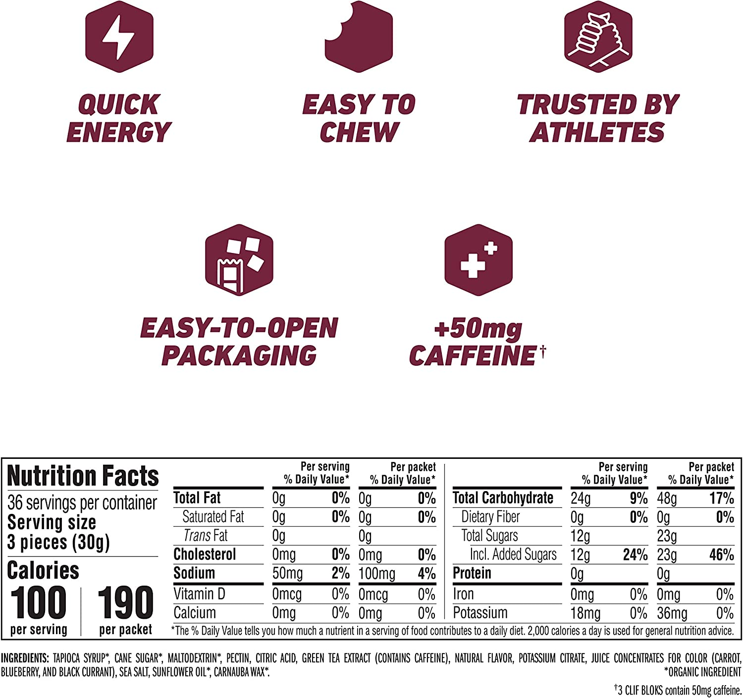 Clif BLOKS - Energy Chews - Black Cherry Flavor - 50mg Caffeine (2.1 Ounce Packet, 18 Count): Health & Personal Care