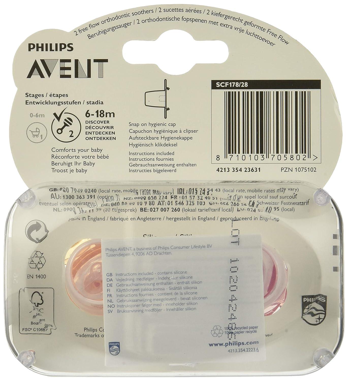 Philips Avent Sucette D/écor/ée A/ér/ée Unie pour Fille 6-18 Mois