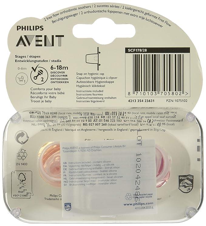Philips Avent SCF178/28 - Pack de 2 chupetes ventilados lisos para niña de 6-18 meses, Color Rosa/Naranja