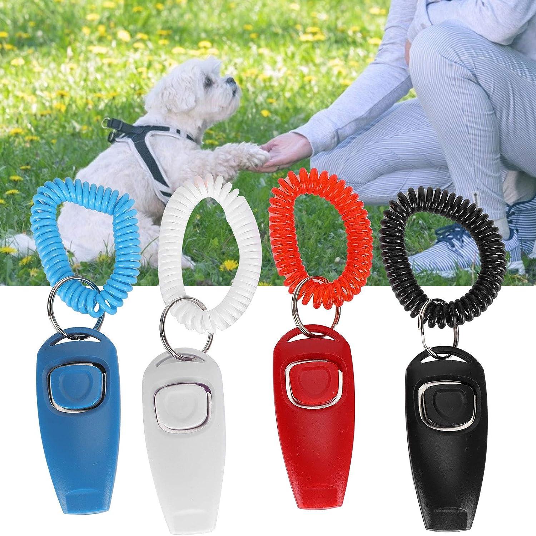 Praktische Katze f/ür Hund 4 St/ück Pet Training Clicker Dog Clicker 2 in 1 Professional Effective Ausgestattet mit Armband