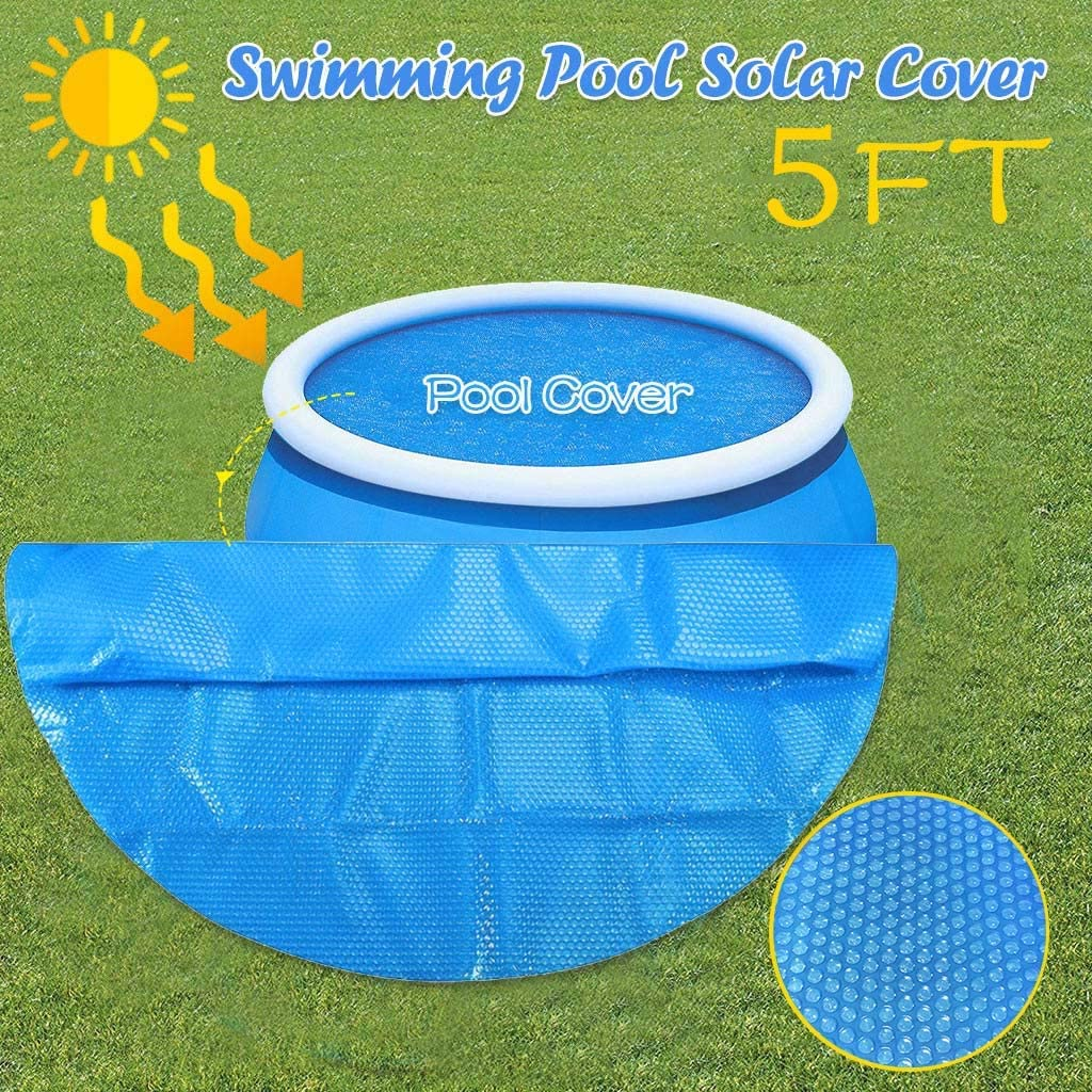 FASESH Solar Cover for Above Ground Pool - Heating Blanket for In-Ground and Above-Ground Rectangular Swimming Pools | Use Sun to Heat Pool | Face Bubble-Side Down Anti-Evaporation Protection (5 ft)