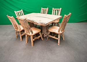 """Midwest Log Furniture - Northern Rustic Pine Log Stump Kitchen/Dining Table 40"""" Wx60 L - 6 Chairs"""