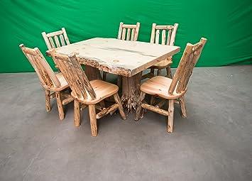 Amazon.com - Midwest Log Furniture - Rustic Pine Log Dining ...