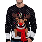 JOYIN Men's Christmas Fuzzy Reindeer Ugly Sweater for Holiday or Birthday Gift