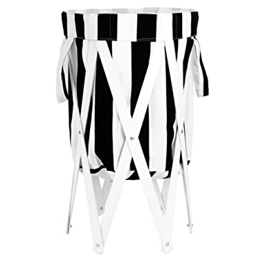 MAX + RAE Collapsible Laundry Hamper with White Wood Frame   Dirty Clothes Storage   Removable Fabric Bag with Handles, Easy to Carry and Clean   Nursery, Kids Bedroom, Bathroom (Black White Stripes)