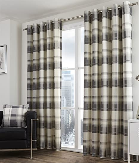 Bonnie Lined Eyelet Curtains 66quot X 90quot Tartan Check Slate Charcoal Grey Cream Pair