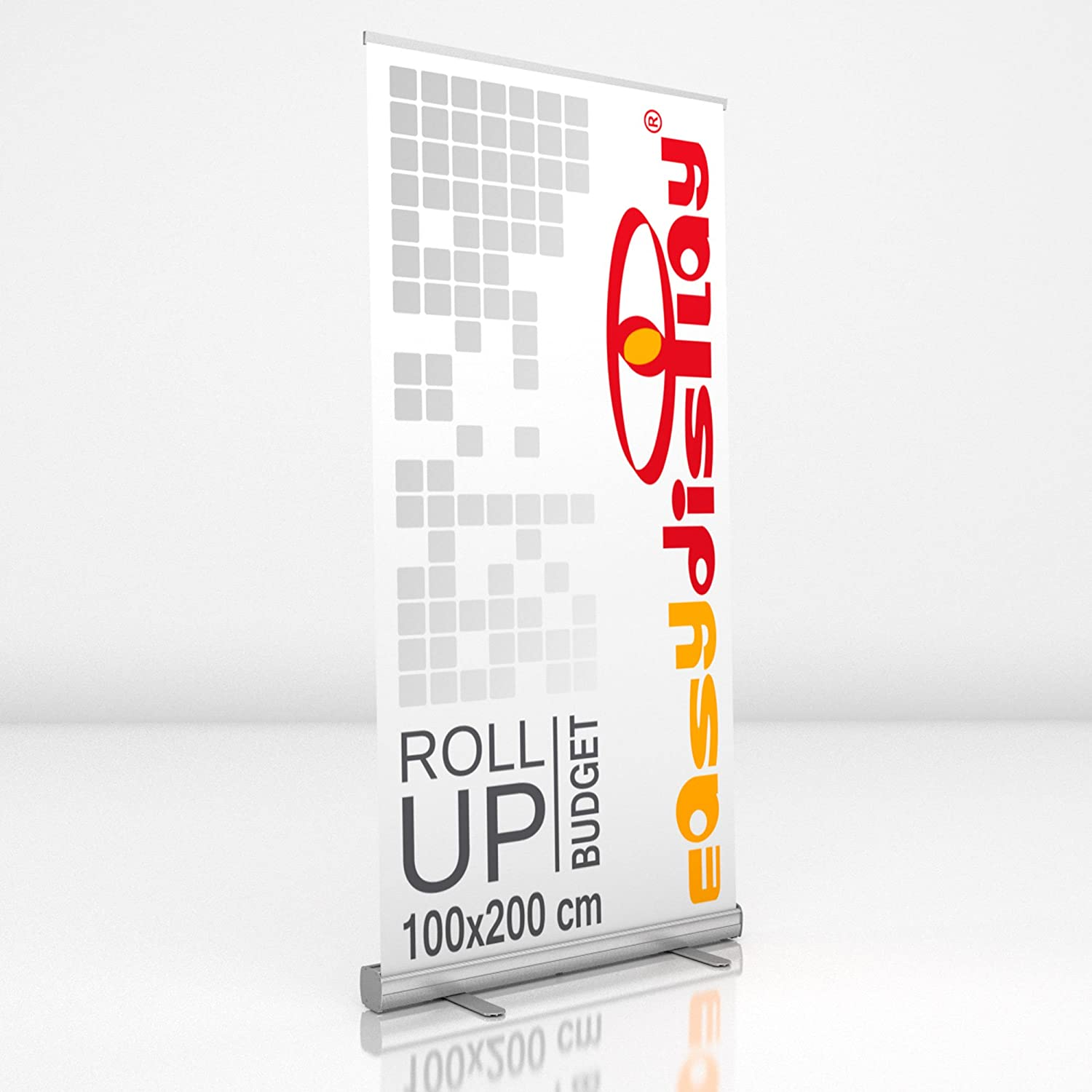 Roll Up Display 100 x 200 cm con stampa, Supporto pubblicitario Rollup Budget, Display Banner Easydisplay