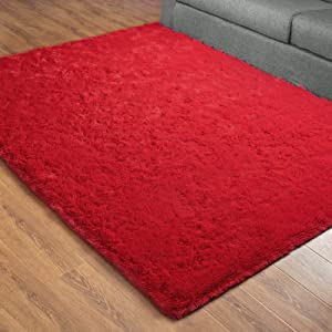 DETUM Soft Bedroom Area Rugs, Fluffy Fur Rug for Living Room Kids Room Nursery Room Mat, Shaggy Plush Carpet for Indoor Floor, Modern Home Decor, 5 x 8 Feet, Red