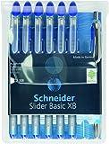 Schneider Slider Basic XB 6 Stück und 1x Slider Rave XB Kugelschreiber mit Etui. Schreibfarbe blau