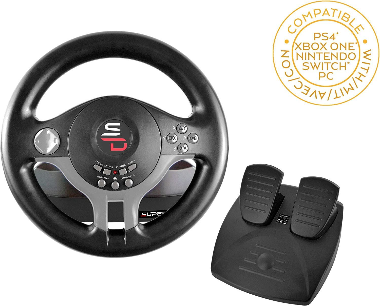 Subsonic - Volante Driving Wheel con pedales y paletas de cambio para Switch - PS4 - Xbox One - PC (Nintendo Switch): Amazon.es: Videojuegos
