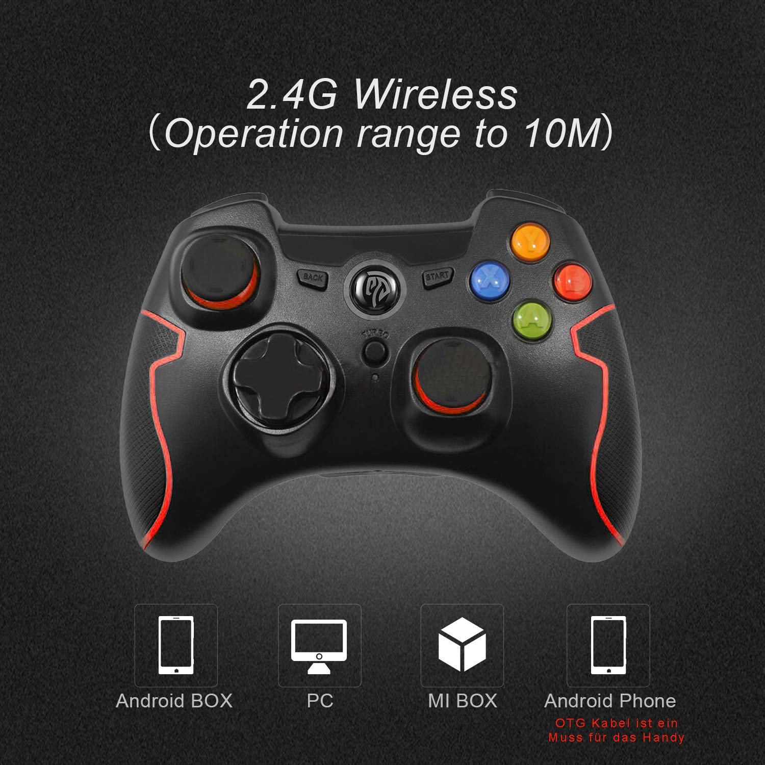 EG-C3071W 2.4G Wireless Gaming Joystick Dual Shock EasySMX Wireless Game Controller TURBO for Android Phone or Tablet with OTG Function /& PS3//PC//TV or TV Box Black 2019 Edition