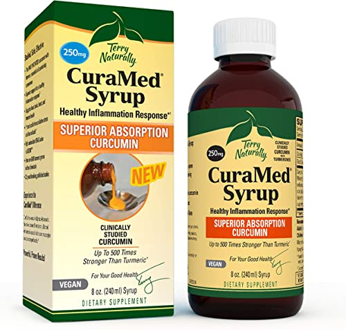 Terry Naturally CuraMed Syrup – 250 mg BCM-95 Curcumin, 8 fl oz – Promotes Healthy Inflammation Response, Supports Liver, Brain, Heart Immune Health – Vegan, Non-GMO, Gluten-Free – 48 Servings