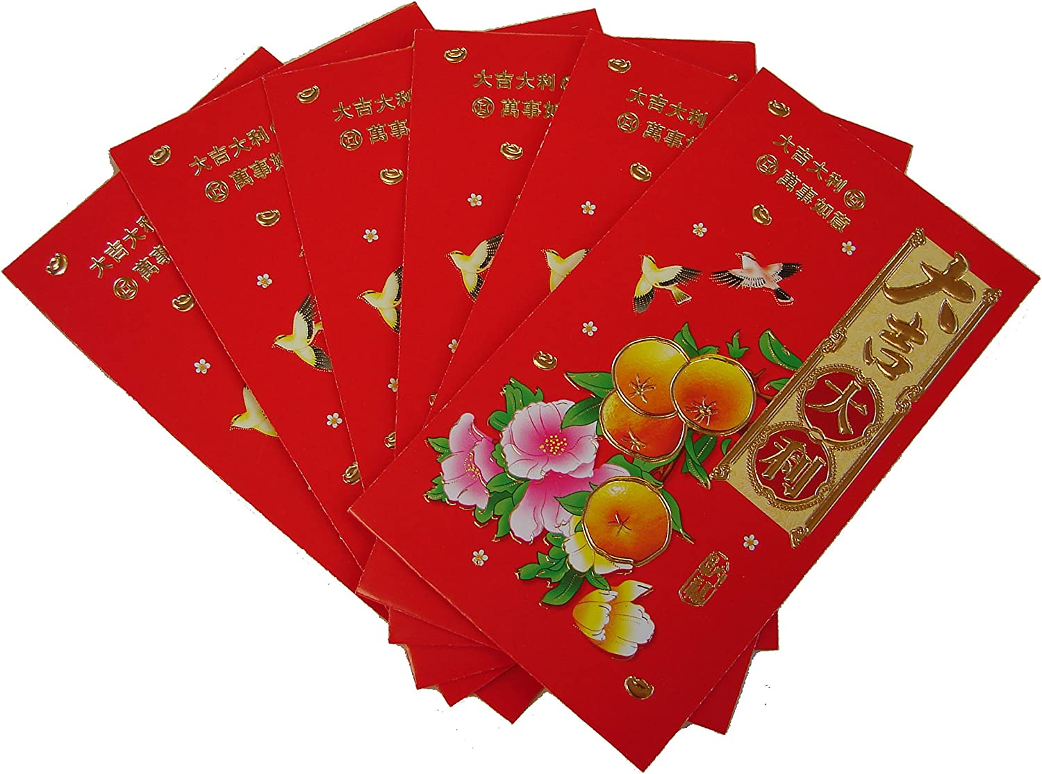 US-6PCS M size Chinese New Year Money Envelopes HongBao Red Packet W// Fortune Fu