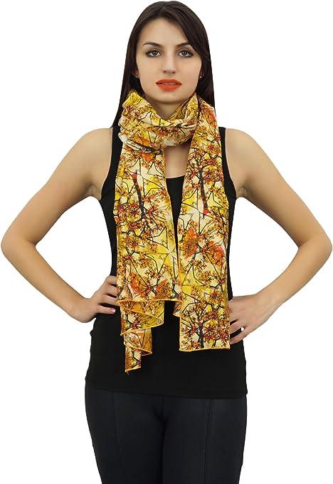 Phagun india cuello de las mujeres del abrigo de la bufanda de impresión digital 100% algodón ligero, mantón, bufandas largas de la estola-28x72 pulgadas