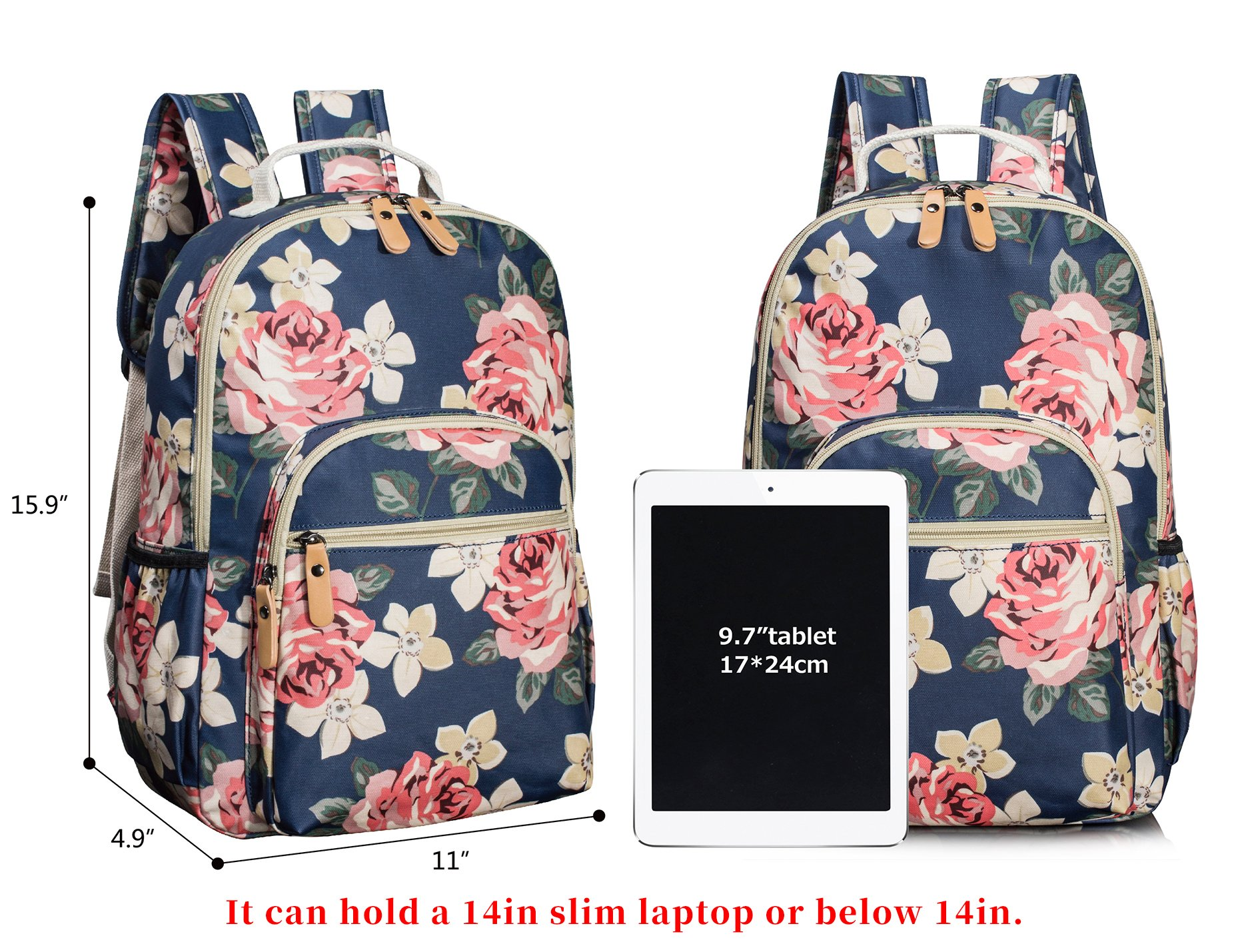 Leaper Floral Water-resistant Laptop Backpack College Bags Daypack Dark Blue by Leaper (Image #2)