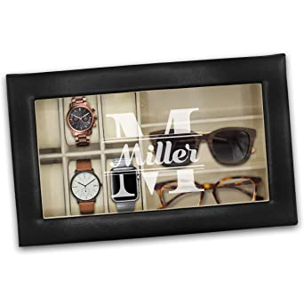 Personalized Watch And Sunglasses Box Custom Engraved Watch And Eyeglass Organizer Case