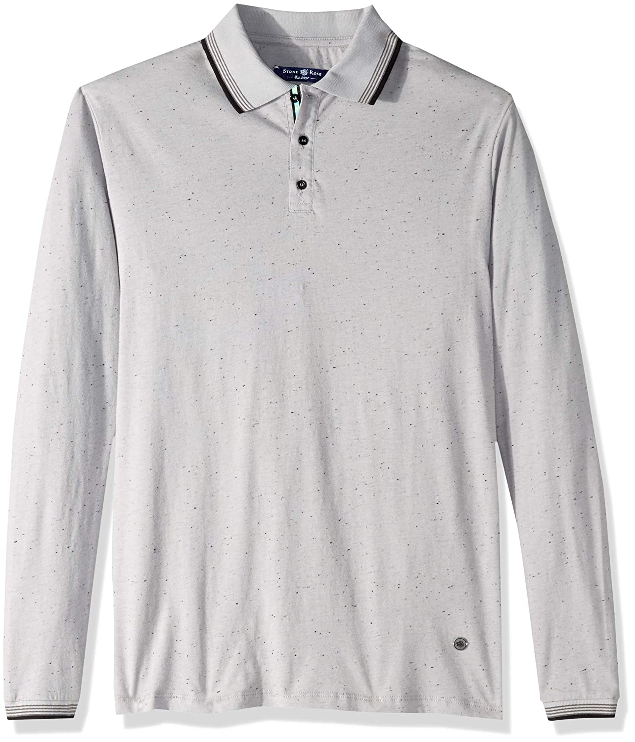 Stone Rose Mens Long Sleeve Speckle Knit Polo