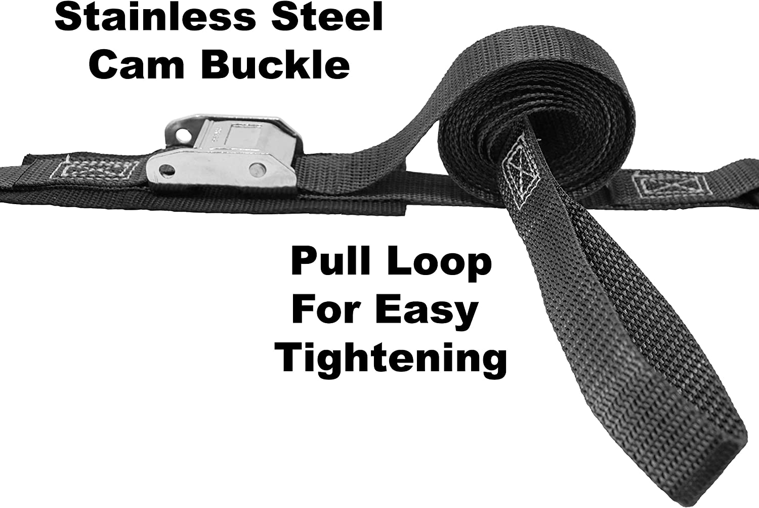 Strap Length 8.5 Ft Pull Loop for Easy Tightening 1 Inch Stainless Steel Cam Buckle Tie Down Stainless Steel S Hook On Each End Protective Pad Under Buckle Polyester Tie-Down Webbing.
